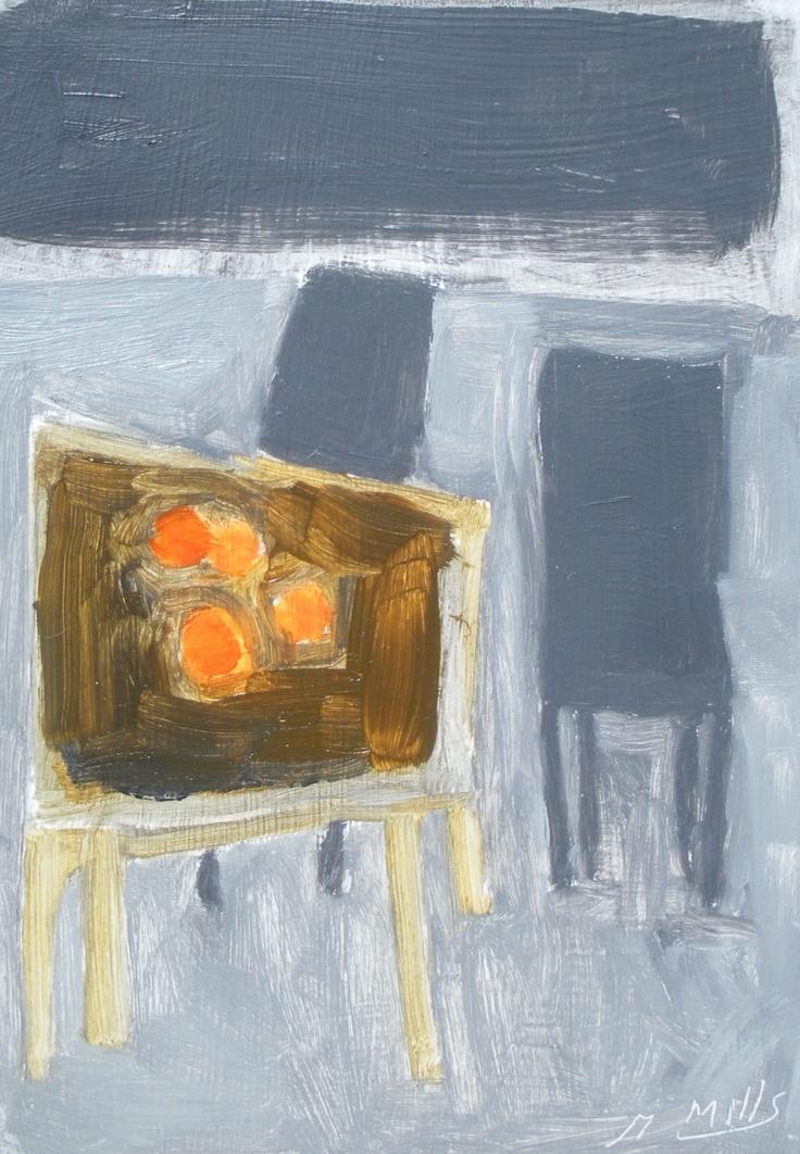 "Gigi Mills, Interior with Oranges, 7""x5"" Oil on Canvas"