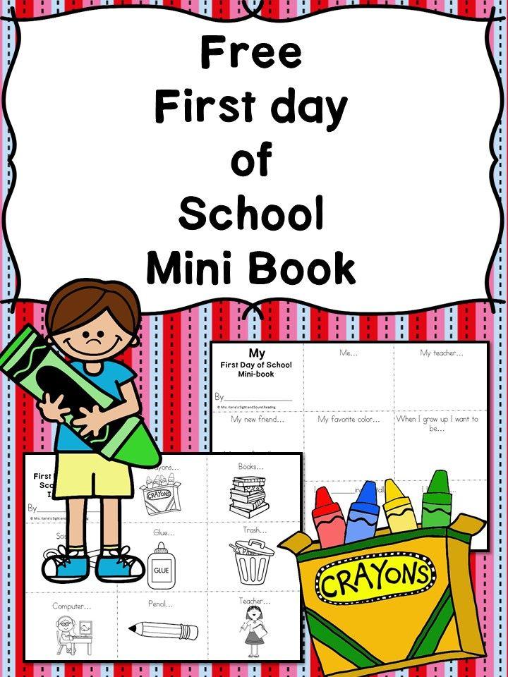 Free First Day Of School Mini Book Classroom Freebies School
