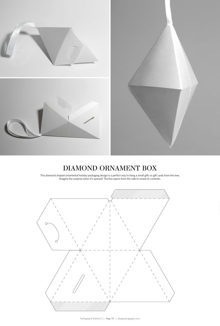 Diamond Ornament Box – structural packaging design dielines