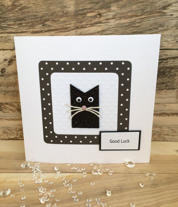 This lovely and fun handmade Good Luck Card features a cute lucky black cat on a polka dot and embossed card background, with a Good Luck