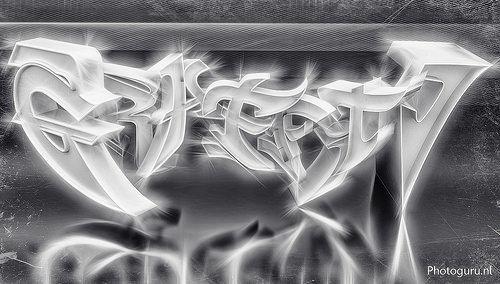 3d graffiti ontworpen in blender 3d en photoshop.