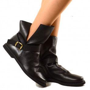 Stivaletti Neri alla Caviglia Pelle Naturale Indian Alternative