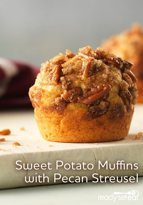 Sweet Potato Muffins with Pecan Streusel is perfect to make ahead and take on the go for morning breakfast!