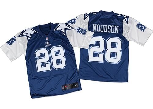 Nike Cowboys #28 Darren Woodson Navy Blue White Men's Stitched NFL Throwback Elite Jersey