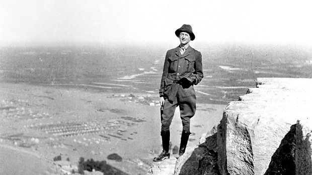Herald journalist C. E. W. Bean was elected as Australia's official war correspondent, narrowly beating Keith Murdoch. After World War I he became the official war historian. Pictured here on the Pyramid of Cheops, Giza, before the Gallipoli invasion, 1915. Photo Australian War Memorial.