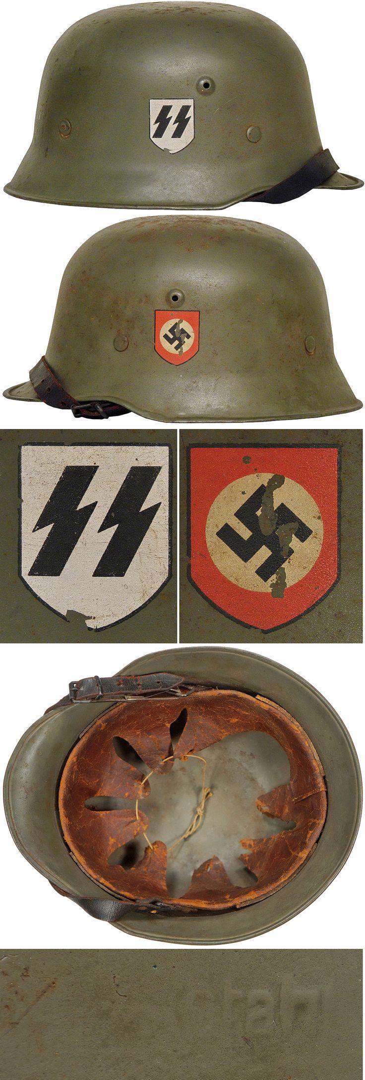 Original SS M34 DOUBLE DECAL HELMET. (Stahlhelm M34)  Check out my website for more original WW2 items: http://www.vantiques.nl