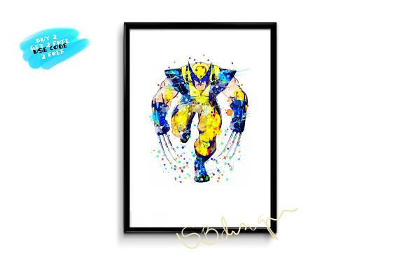 X men watercolor poster wolverine poster marvel comics decor