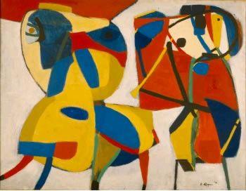 Karel Appel (1921 - 2006) | Horse and Flute Player - 1951