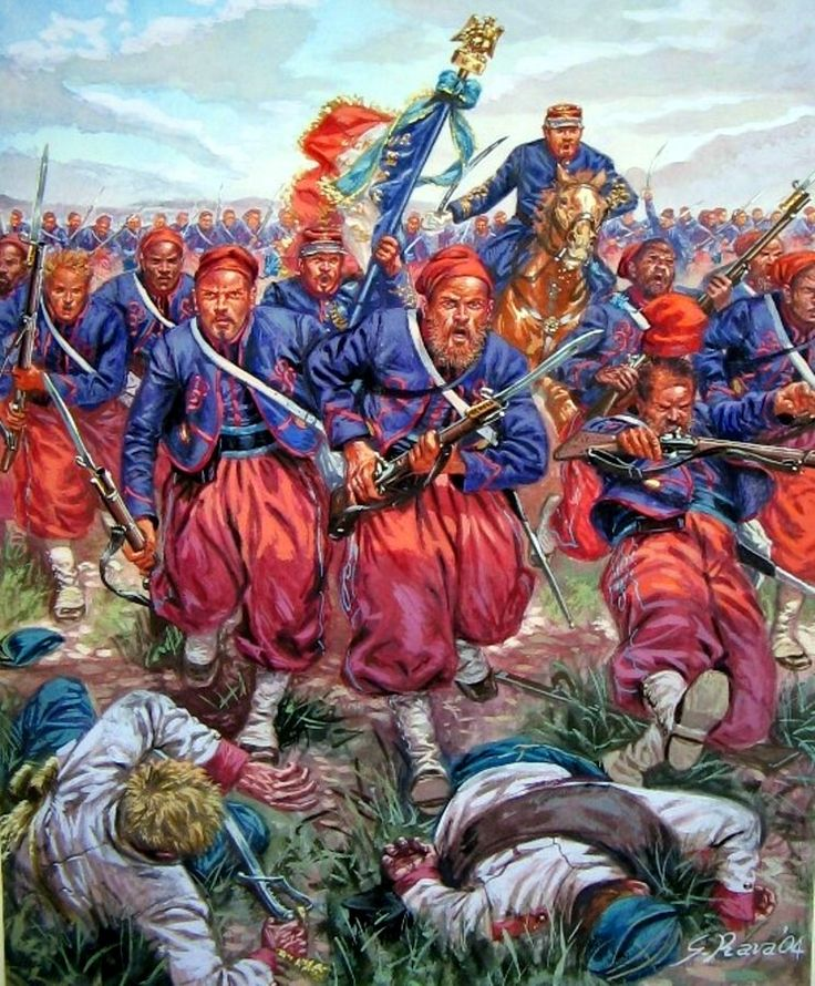 1859 French Zouaves - art by Giuseppe Rava