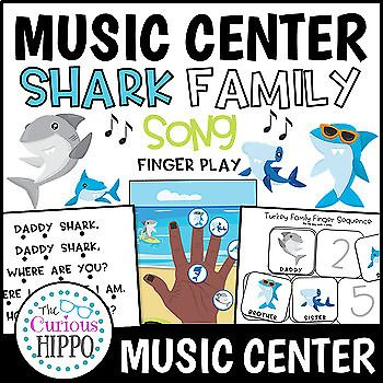 """This interactive shark family song pack includes: - song lyrics with follow along rhythm dots - 2 hands with scenery (1 African American, 1 Caucasian) - Shark Family hand """"puppets"""" to go with the hand page. - Shark Family sequence cards - with words /"""
