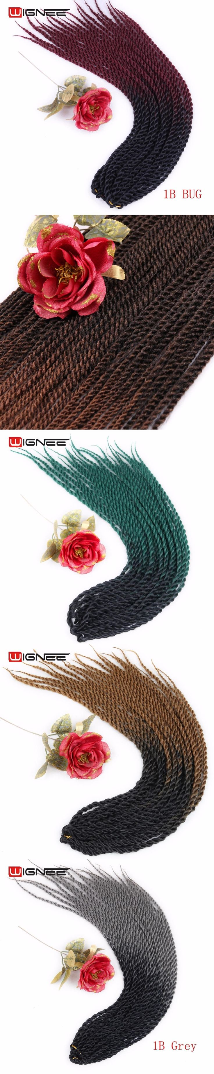 "Wignee 20"" Havana Twist Hair Extension For Black Women High Temperature Synthetic Ombre Color Black Root To Grey/BUG/Brown/Green"