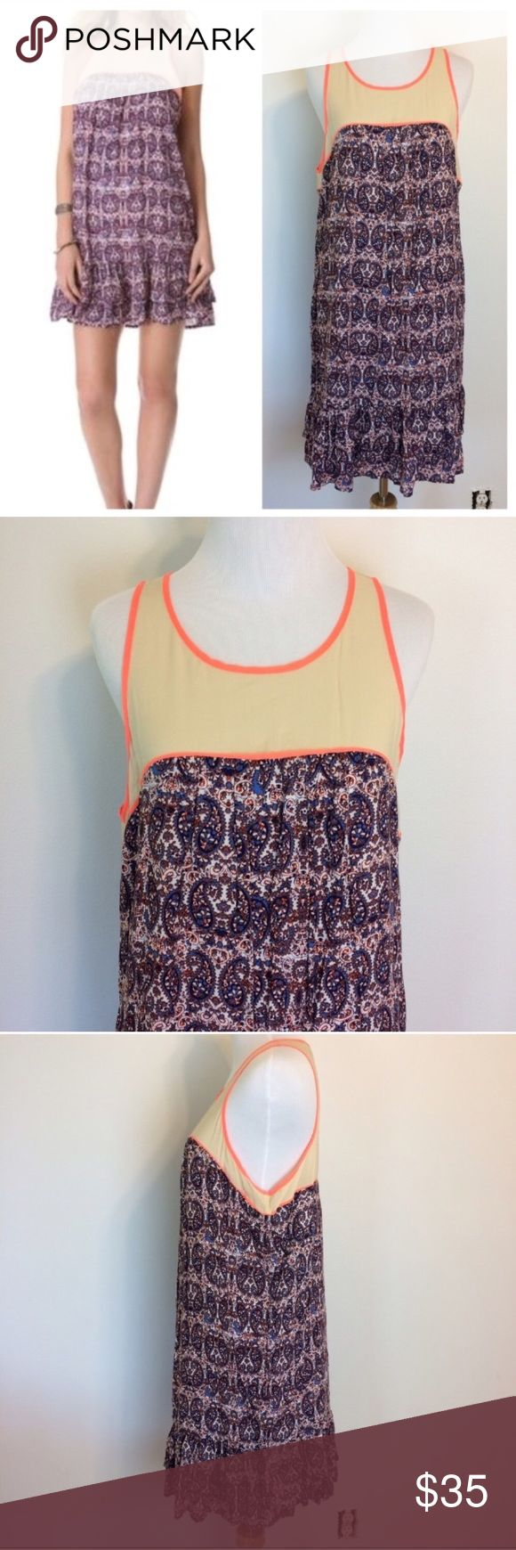 "Ella Moss Paisley Neon Orange Trim Dress Beautiful Ella Moss dress with paisley print, Sheer Neckline with neon orange trim. Size Large. One tiny underarm stain. Pictured. Underarm measurement is 21 1/4"". Length is 37"". Ella Moss Dresses"