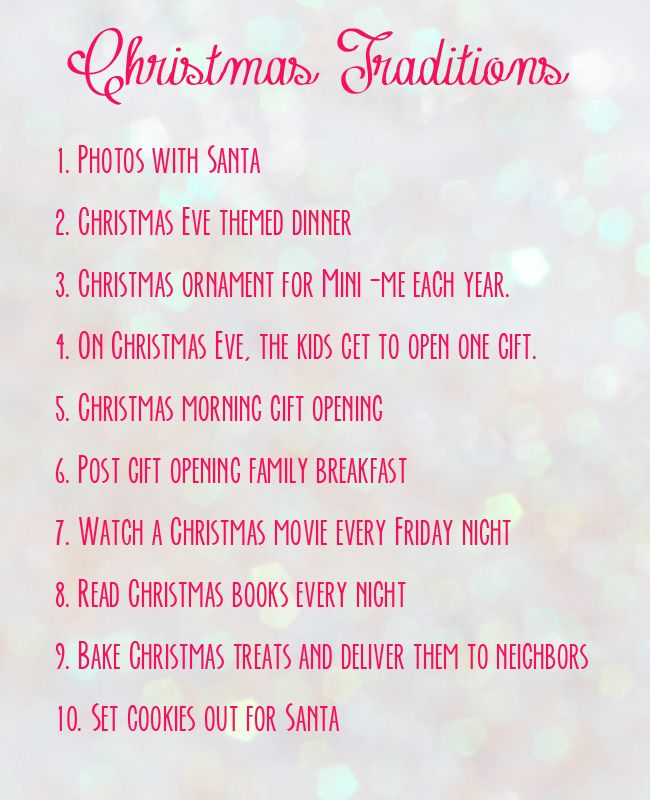 Family Christmas Traditions list