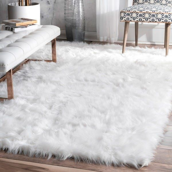 Shop Nuloom Faux Flokati Sheepskin Soft And Plush Cloud White Shag Area Rug On Sale Free Ship In 2020 White Rug Living Room White Shag Area Rug Rugs In Living Room