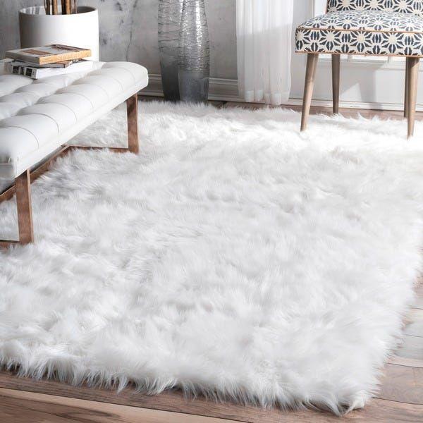 Nuloom Faux Flokati Sheepskin Soft And Plush Cloud White Shag Area