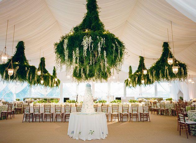 Tent Interior with Hanging Chandeliers | Brides.com