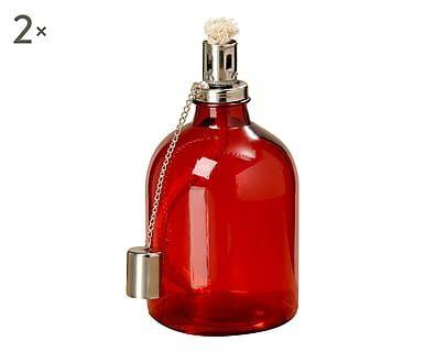 Set di 2 lampade ad olio in vetro Jale, d11 x h21 cm