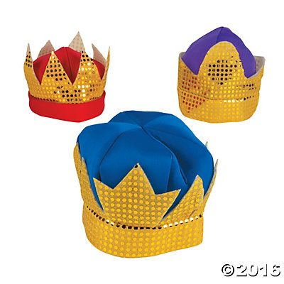 Three kings' crowns (instead of whole costume?).