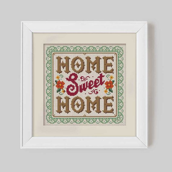 Home Sweet Home Cross Stitch Pattern Digital by Stitchrovia,