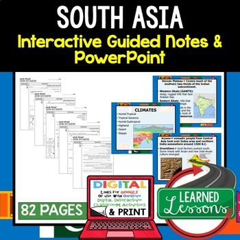 South Asia Guided Notes and PowerPoints, World Geography ➤World Geography Guided Notes, Interactive Notebook, Note Taking, PowerPoints, Anticipatory Guides These interactive guided notes and PowerPoints are great for