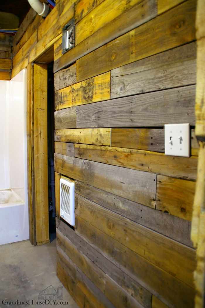 covering walls with pallet wood the basement bathroom renovation wood