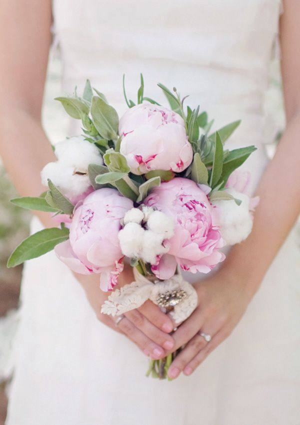 designer clothing sale online peony and raw cotton bouquet by Fertile Crescent Gardens  photographed by Laura Leslie