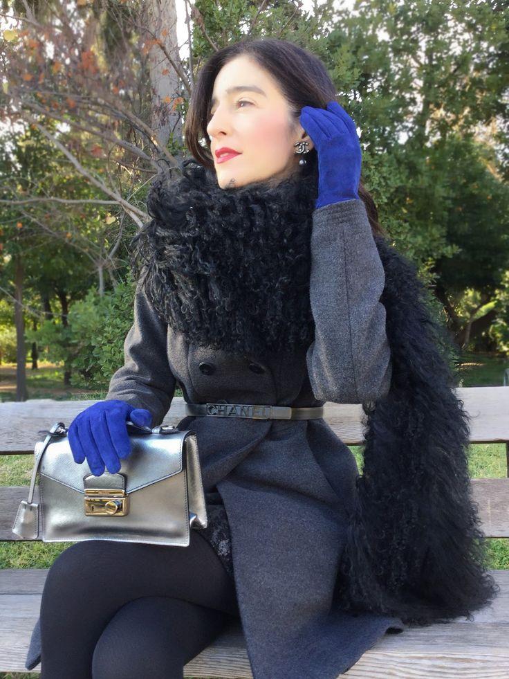 thessrifashion : Prada mini bag, gloves and boa scarf, Chanel skirt, belt and double C earrings