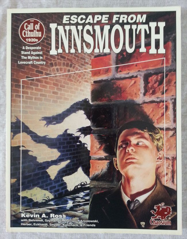 The cover of the Escape from Innsmouth role playing game supplement for the Call of Cthulhu game by Kevin A. Ross. #RPG