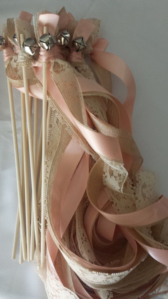 50 Triple Ribbon Wedding Wands Lace and Burlap by craftupyourlife, $76.00