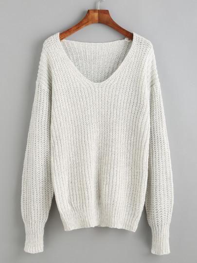 grey sweater, fall sweater, light sweater, v neck drop shoulder sweater - Lyfie