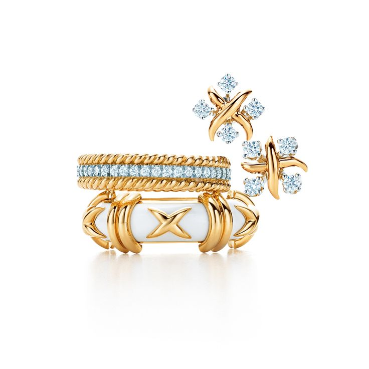 Tiffany & Co. Schlumberger® designs with diamonds in 18k gold and platinum, from top: Lynn earrings, Rope two-row ring and Croisillon ring with enamel. #TiffanyPinterest