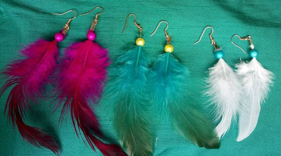 Check out this item in my Etsy shop https://www.etsy.com/uk/listing/539460613/3-pairs-of-feather-earrings-boho