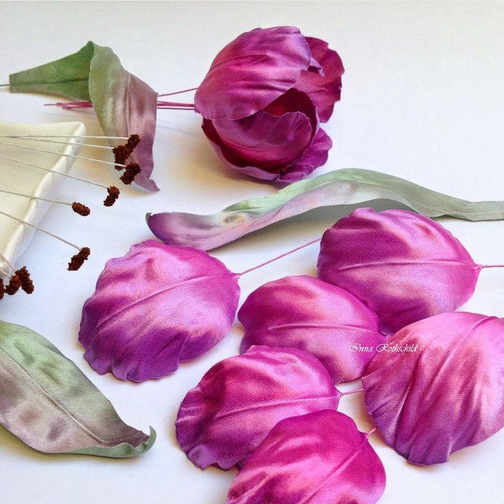 цветы из шелка, тюльпаны, ручная работа, интерьерные цветы, цветы из ткани, шелковая флористика