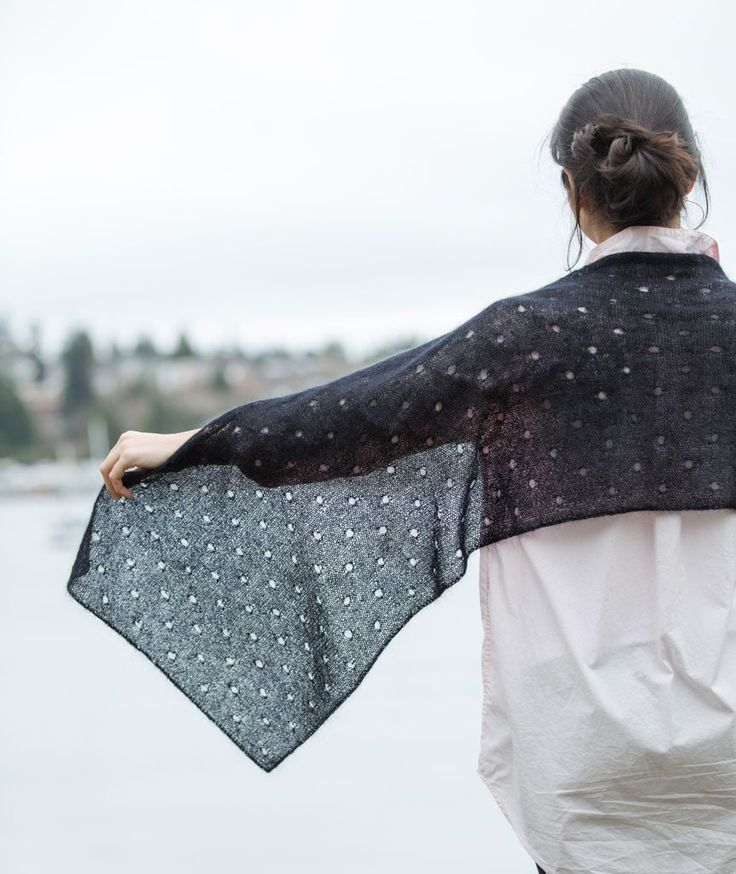 In our Polka Dot Scarf, we've created 'dots' with an eyelet stitch pattern that's easy to knit and easy to remember. It's light-as-air in Rowan Kidsilk Haze.