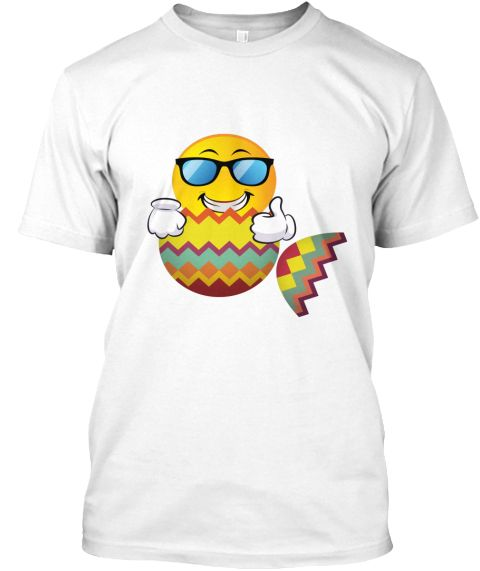 Happy Easter Day Cute Funny Emoji Egg White T-Shirt Front