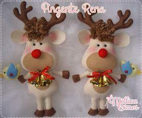 *FELT ART ~ Easy Templates and Tutorials: Christmas Reindeer on Felt
