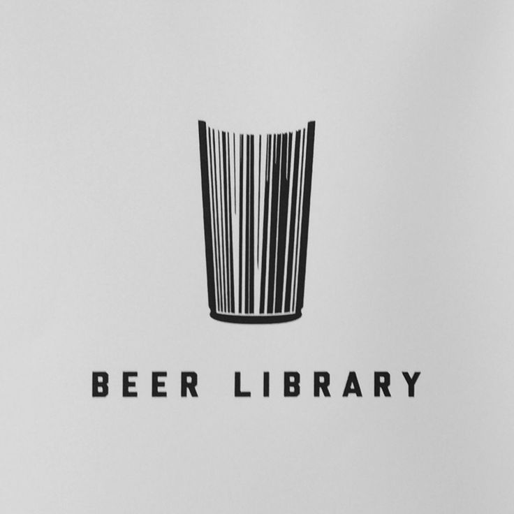 """This logo at first resembles a glass of liquid (we can assume beer based on the title) but as you look closer it looks like the top view of a book. The lines in the class resemble book pages, lending to the """"Library"""" concept."""