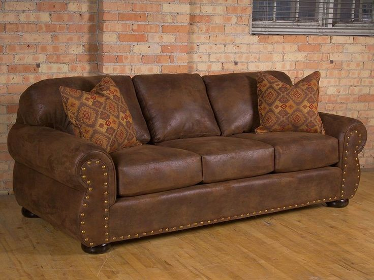 Rustic faux-leather fabric on traditional sofa