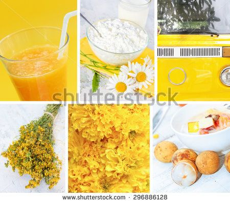 Collage of photos in yellow colors