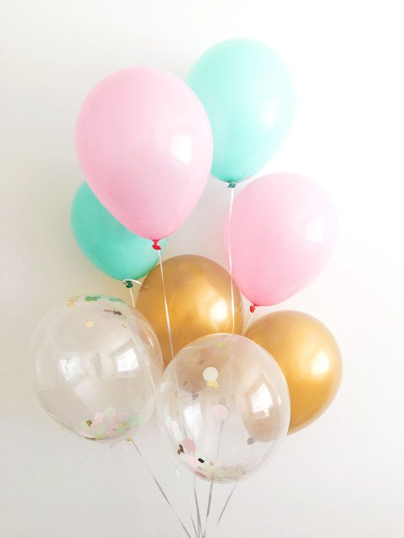 Pink Mint Gold Latex Balloons Pink Mint Gold Party Confetti