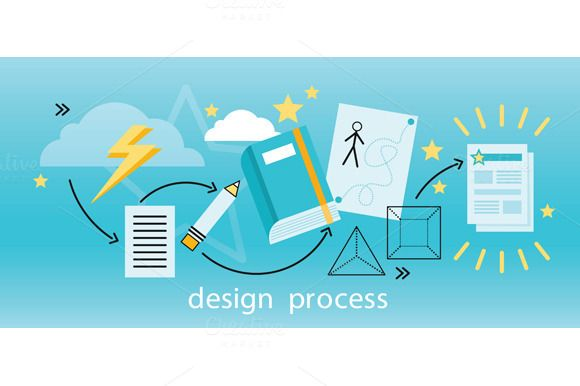 Design Process Banner Flat Concept by robuart on @creativemarket