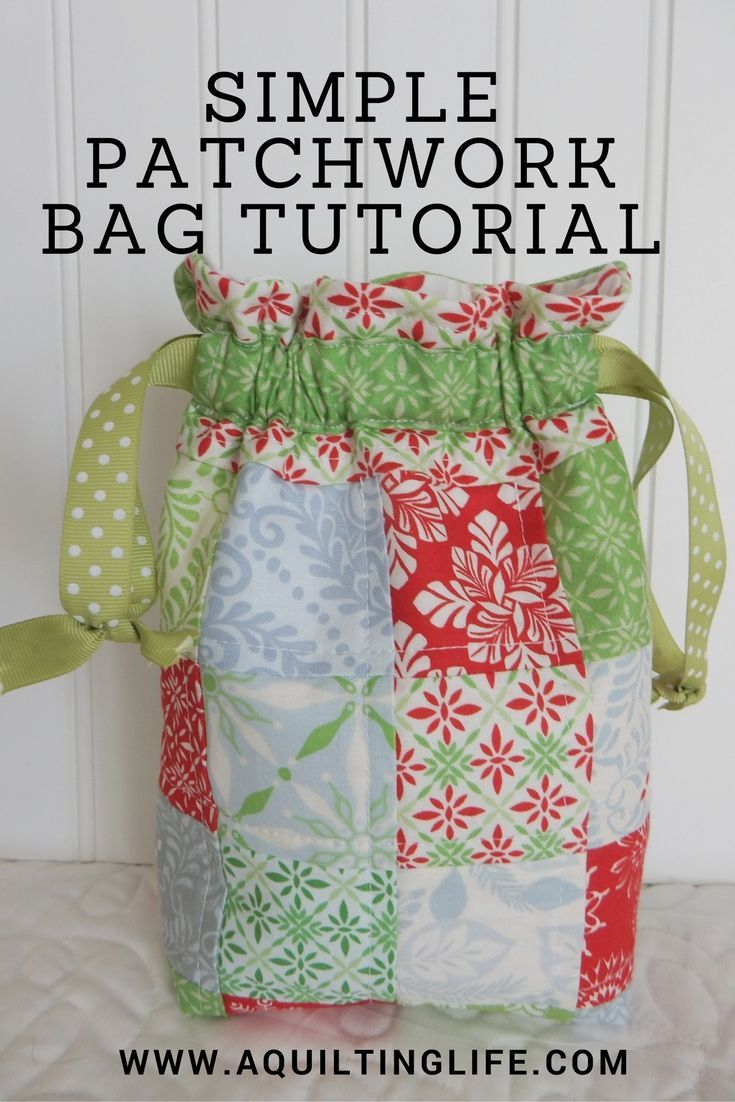 Use patchwork scraps to make this delightful patchwork gift bag - tutorial