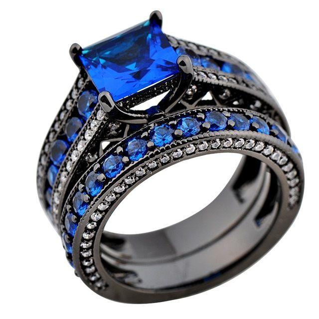 Marca nova moda jóias de safira azul anéis 10KT Black Gold Filled anéis de casamento