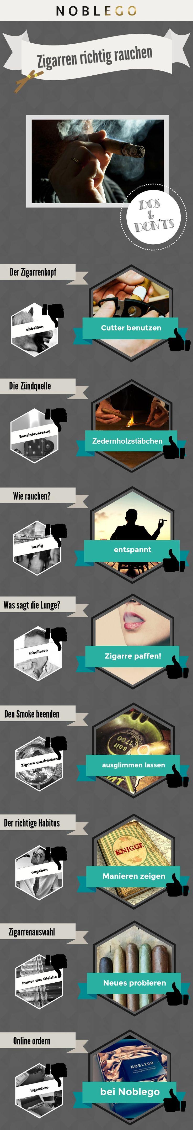 Zigarren richtig rauchen von Noblego @noblego #infografik #zigarren #tipps #rauchenlernen