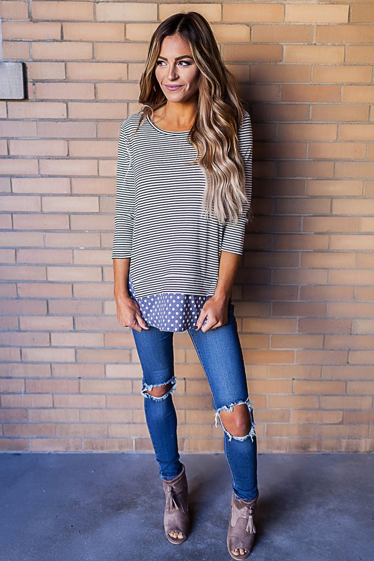 Striped/Polka Dot Long Sleeve Top - Dottie Couture Boutique