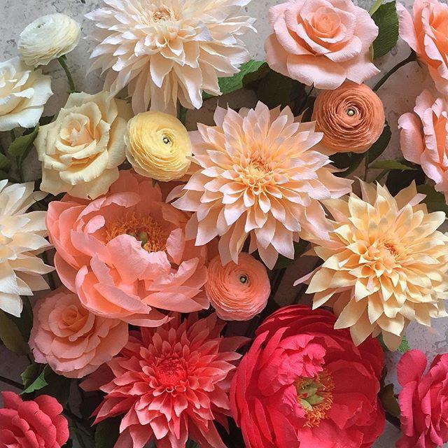 Dahlias, peonies, and ranunculus. (Oh my!) #nectarhollow #paperflowers #crepepaperrevival