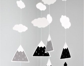 Baby mobile, mountain mobile, monochrome nursery, scandinavian mobile, nordic nursery mobile, baby nursery decor, woodland mobile, baby room -    Edit Listing  - Etsy