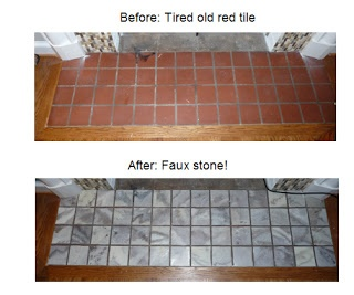 Painted fireplace mantel tiles - they look like stone!
