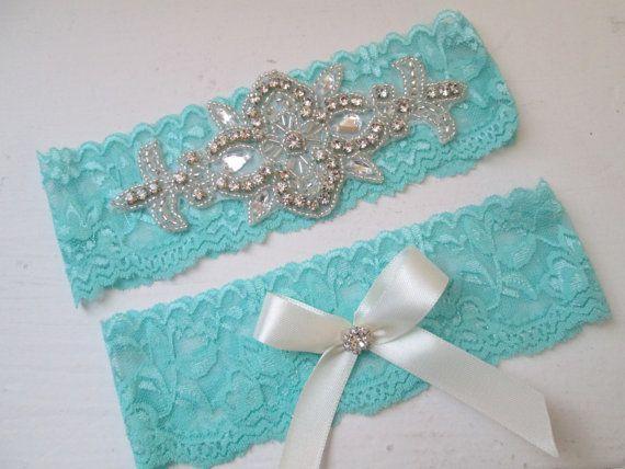Aqua Blue Wedding Garter Set Teal Bridal By GibsonGirlGarters