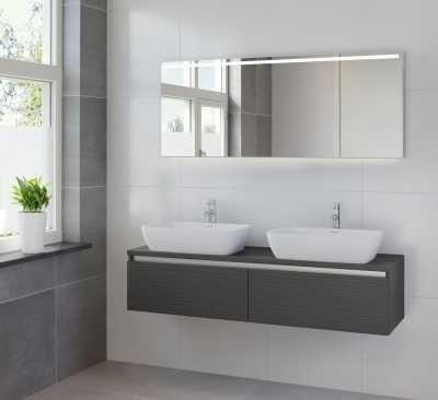 Bruynzeel Faro meubelset 150 cm,met dubbele wastafel-spiegel, hacienda